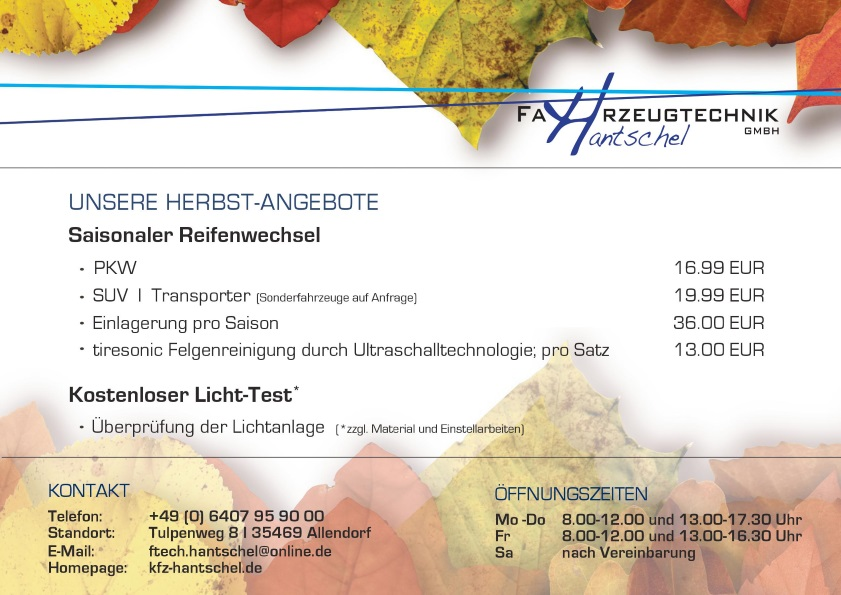 Flyer Herbstangebot 2017