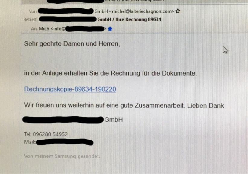 email warnung